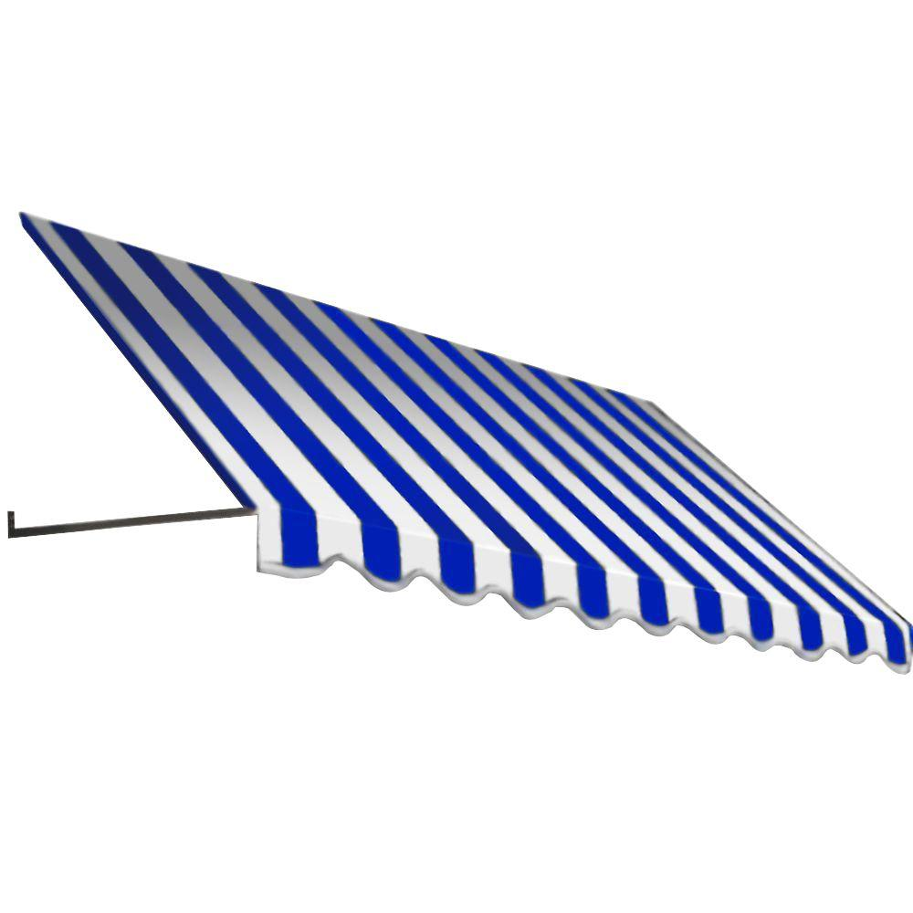 Beauty-Mark 10 ft. Dallas Retro Window/Entry Awning (24 in. H x 36 in. D) in Bright Blue/White Stripe