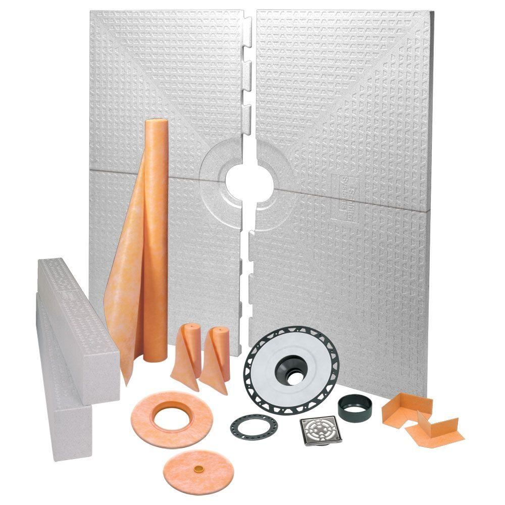 Nice Schluter Kerdi Shower 72 In. X 72 In. Shower Kit In ABS With Stainless  Steel Drain Grate KK183ABSE   The Home Depot