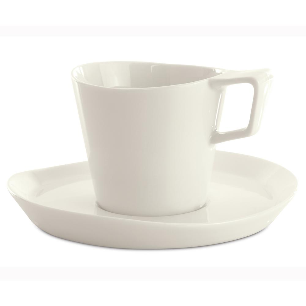 Eclipse 8 oz. White Porcelain Tea Cup and Saucer (Set of