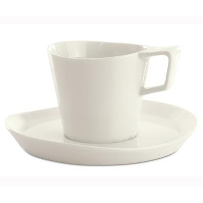 Eclipse 8 oz. White Porcelain Tea Cup and Saucer (Set of 2)