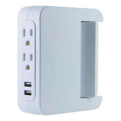 5-Outlet 2 USB Swivel Side-Access Surge Protector Tap