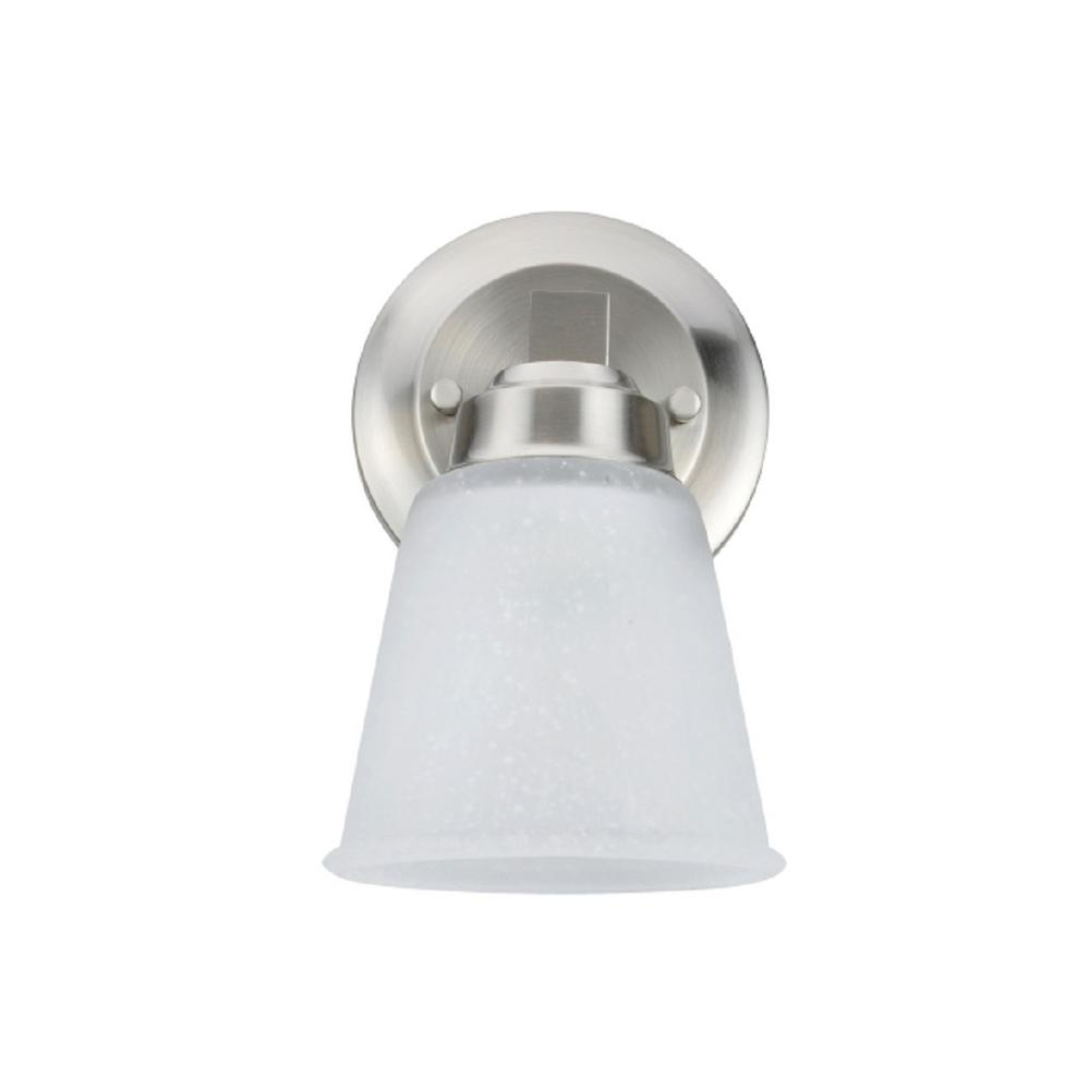 Aspen Creative Corporation 1-Light Satin Nickel Vanity Light with Clear Etched Glass Shade