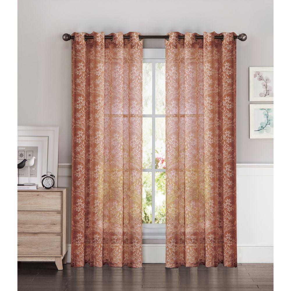 Window Elements Sheer Botanica Faux Linen 54 In W X 84 L Semi