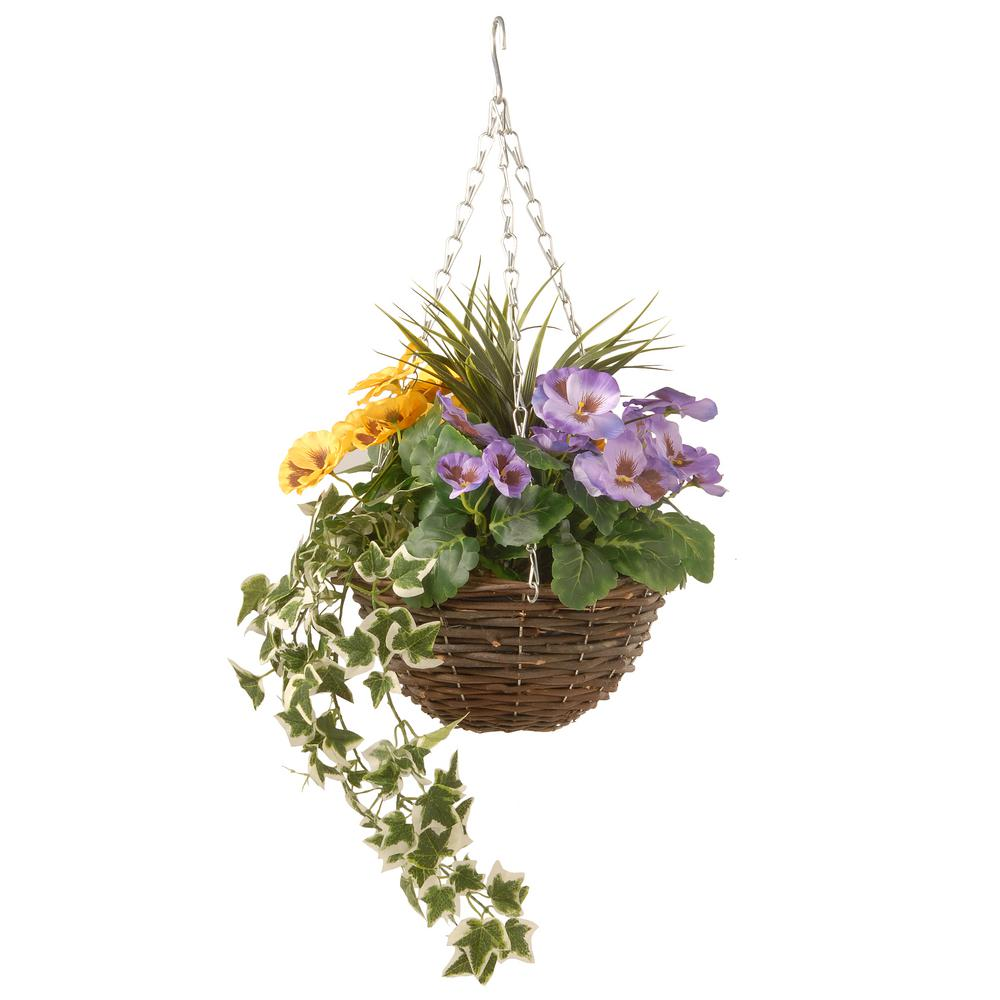 14 in. Pansy and Ivy Hanging Basket