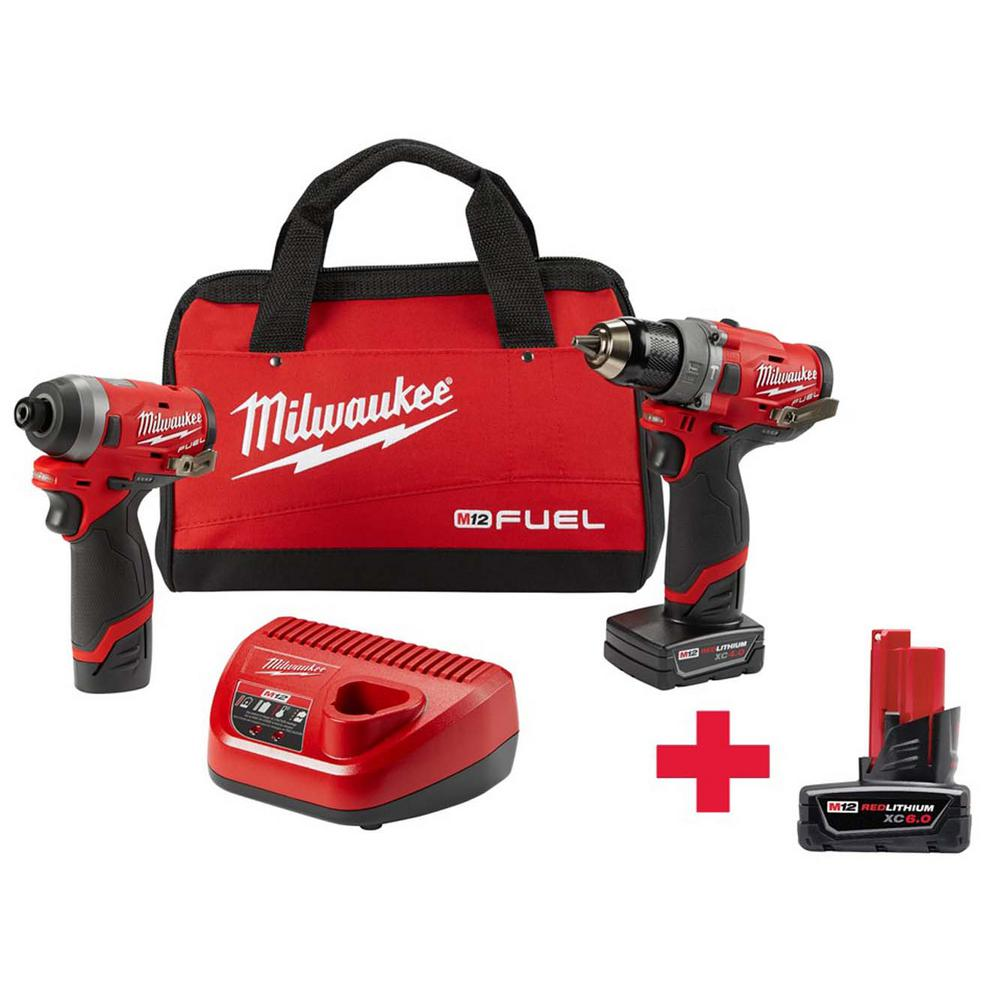 Power Tool Combo Kit Set 12-Volt Brushless Cordless Hammer Drill & Impact Driver