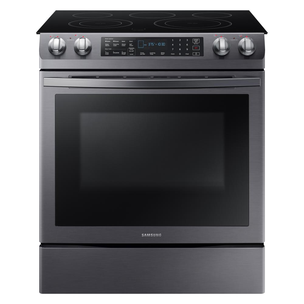 Samsung 5.8 cu. ft. Slide-In Electric Range with Self-Cleaning Dual Convection Oven in Black Stainless Steel, Fingerprint Resistant Black Stainless was $1699.0 now $1048.5 (38.0% off)