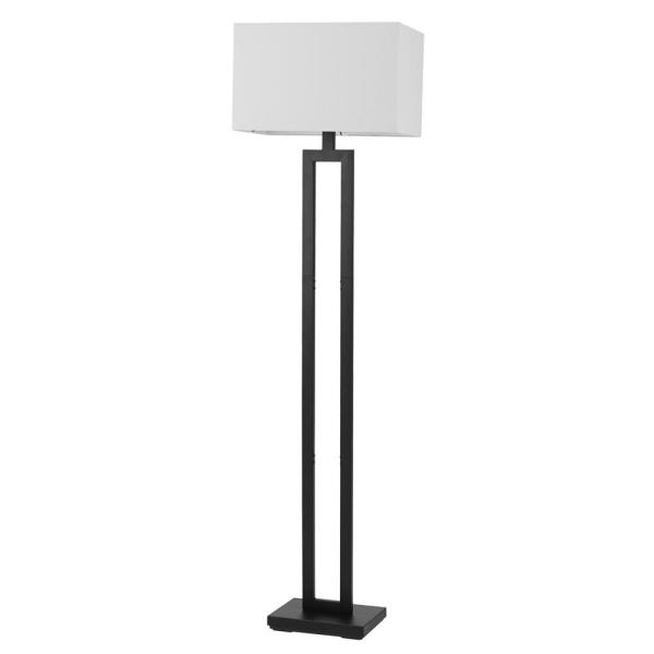 D'Alessio 58 in. Matte Black Floor Lamp with White Linen Shade