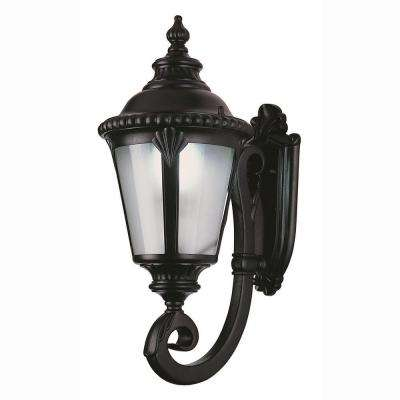 1-Light Black Outdoor Energy Saving Coach Lantern with Frosted Glass