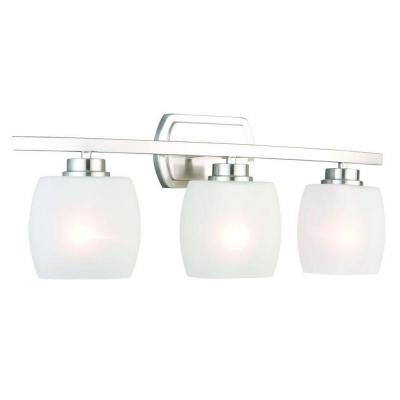 Tamworth 3-Light Brushed Nickel Vanity Light with Frosted Glass Shades