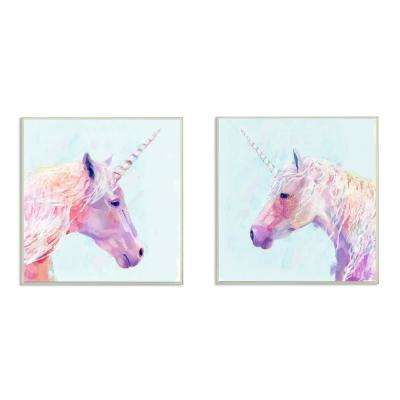 "12 in. x 12 in. ""Painted Mystic Unicorns Portraits"" by Victoria Borges Printed Wood Wall Art"