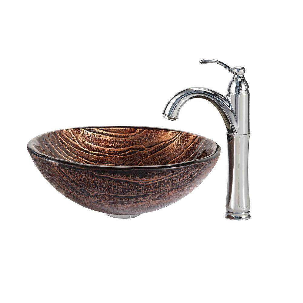 Gaia Glass Vessel Sink in Brown with Riviera Faucet in Chrome