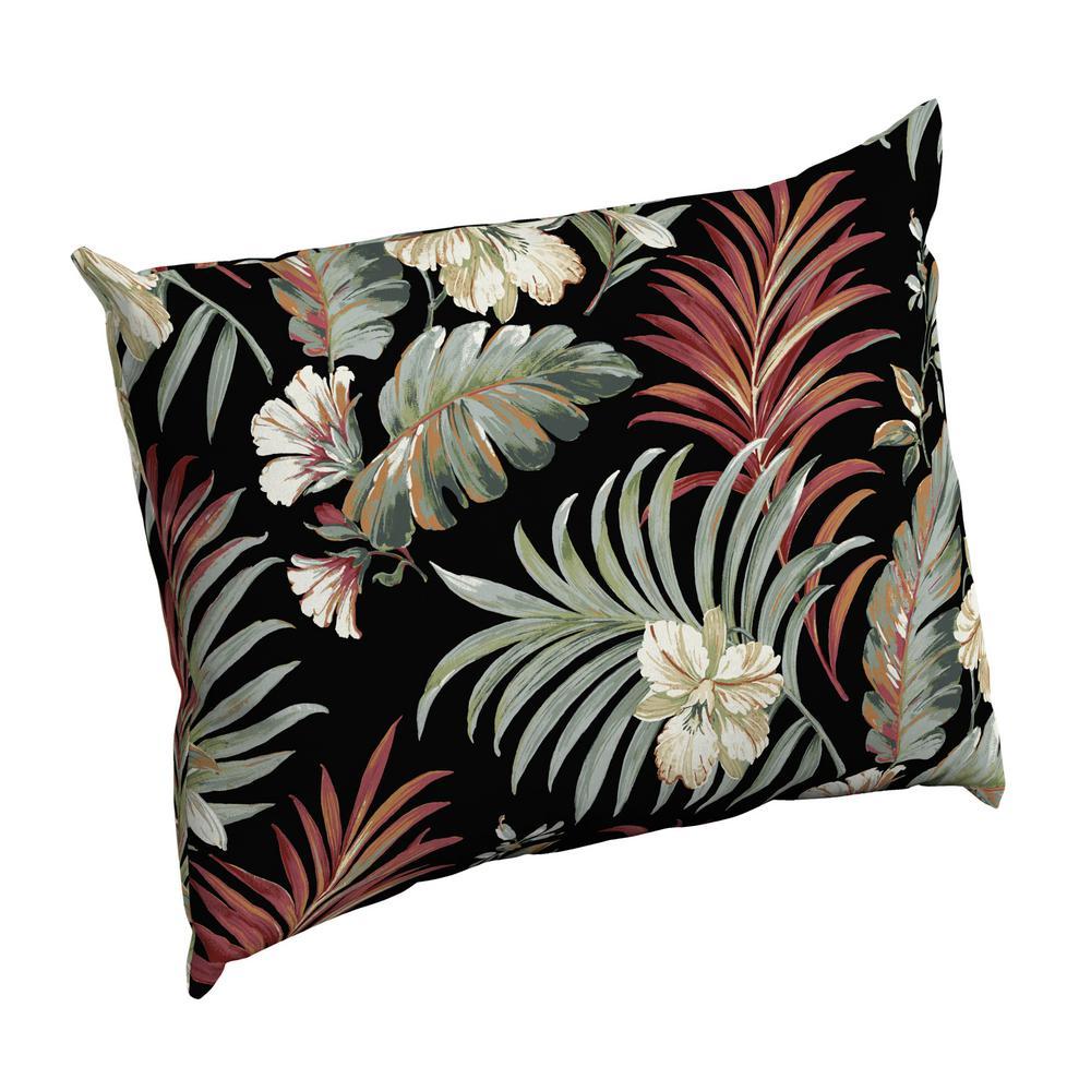 Black Simone Tropical Rectangle Outdoor Throw Pillow