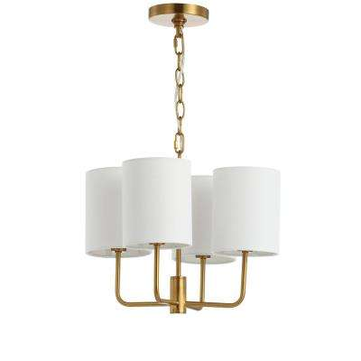 Elias 4-Light Brass Gold Chandelier with Off White Shade
