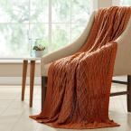 Cinnamon Cotton Oversized Cable Diamond Knit Throws