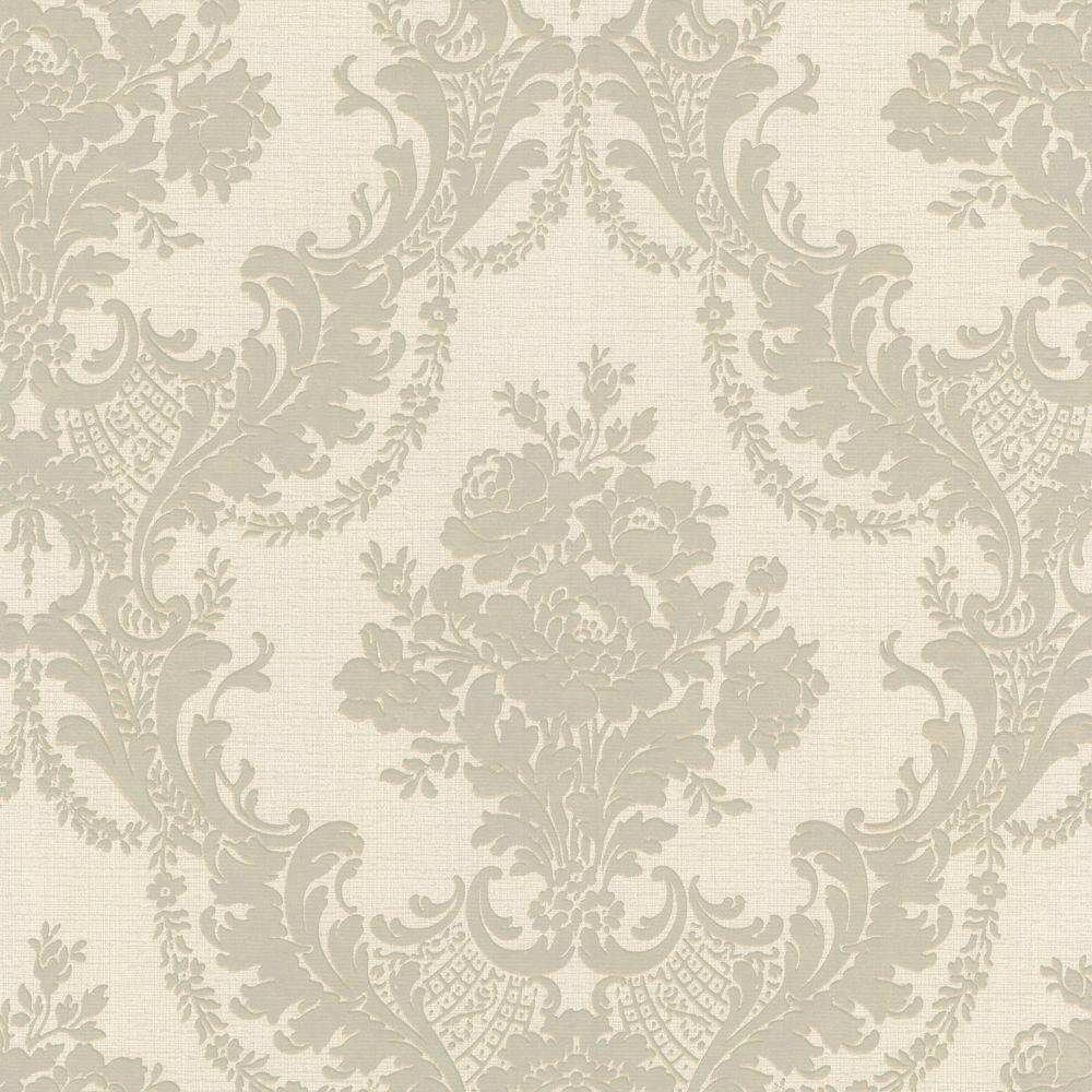 null 56 sq. ft. Trianon Light Grey Damask Wallpaper