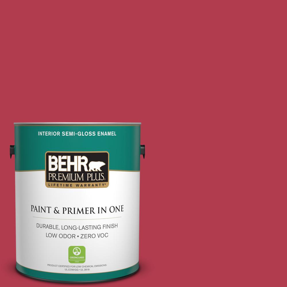 1-gal. #HDC-SM14-10 Intrigue Red Zero VOC Semi-Gloss Enamel Interior Paint