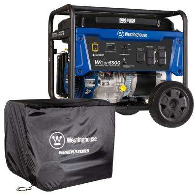 5500-Watt Gasoline Powered Portable Generator with GFCI Outlets and Protective Storage Cover