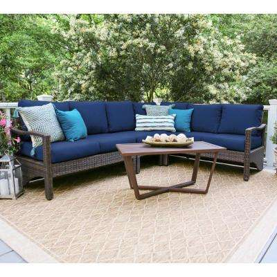 Augusta 5-Piece Wicker Outdoor Sectional Set with Navy Cushions