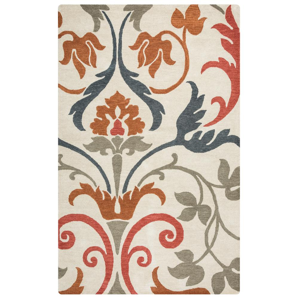 Rizzy Home Marianna Fields Ivory Floral Hand Tufted Wool 8 Ft X 10