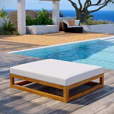 Newbury Natural Grade A Teak Wood Outdoor Ottoman with White Cushions