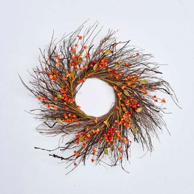 24 in. Fall Berry Twig Wreath on Natural Twig Base