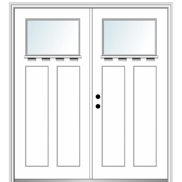 Mmi Door 72 In X 80 In Shaker Right Hand Inswing 1 Lite Clear Low E Painted Fiberglass Smooth Prehung Front Door With Shelf Z028480r The Home Depot