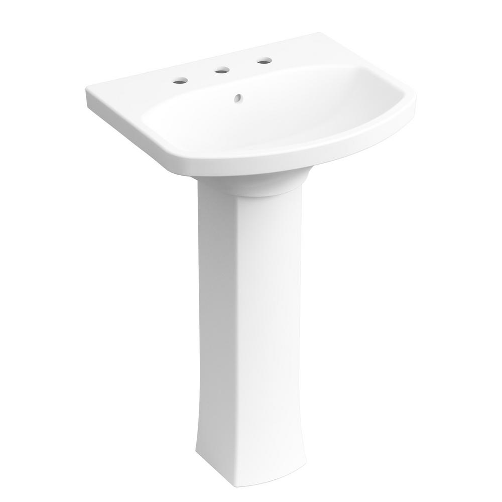 KOHLER Elmbrook 24 in. Pedestal Sink in White with 8 in. Widespread Faucet Holes