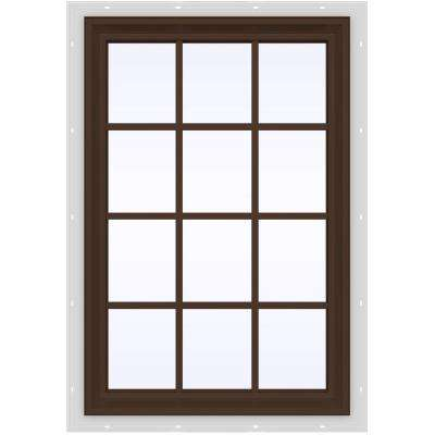 35.5 in. x 47.5 in. V-2500 Series Brown Painted Vinyl Fixed Picture Window with Colonial Grids/Grilles
