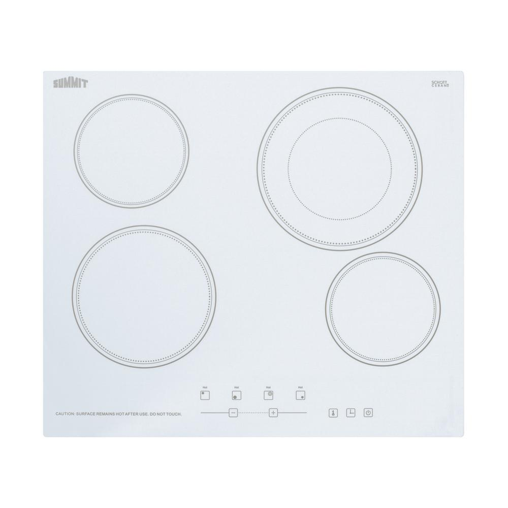 Summit 24 in. Radiant Electric Cooktop in White with 4 El...