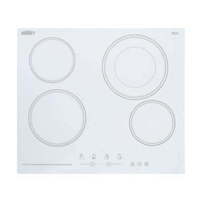 24 in. Radiant Electric Cooktop in White with 4 Elements including Dual Zone Element