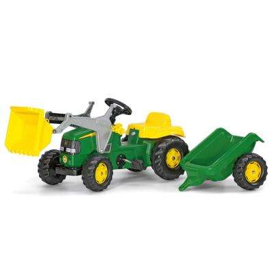 John Deere Pedal Tractor with Working Front Loader and Detachable Trailer