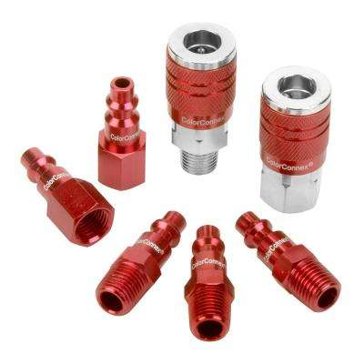 1/4 in. Coupler and Plug Kit Type D  NPT in Red (7-Piece)
