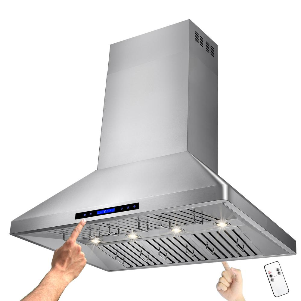 42 in. Kitchen Island Mount Range Hood in Stainless Steel with