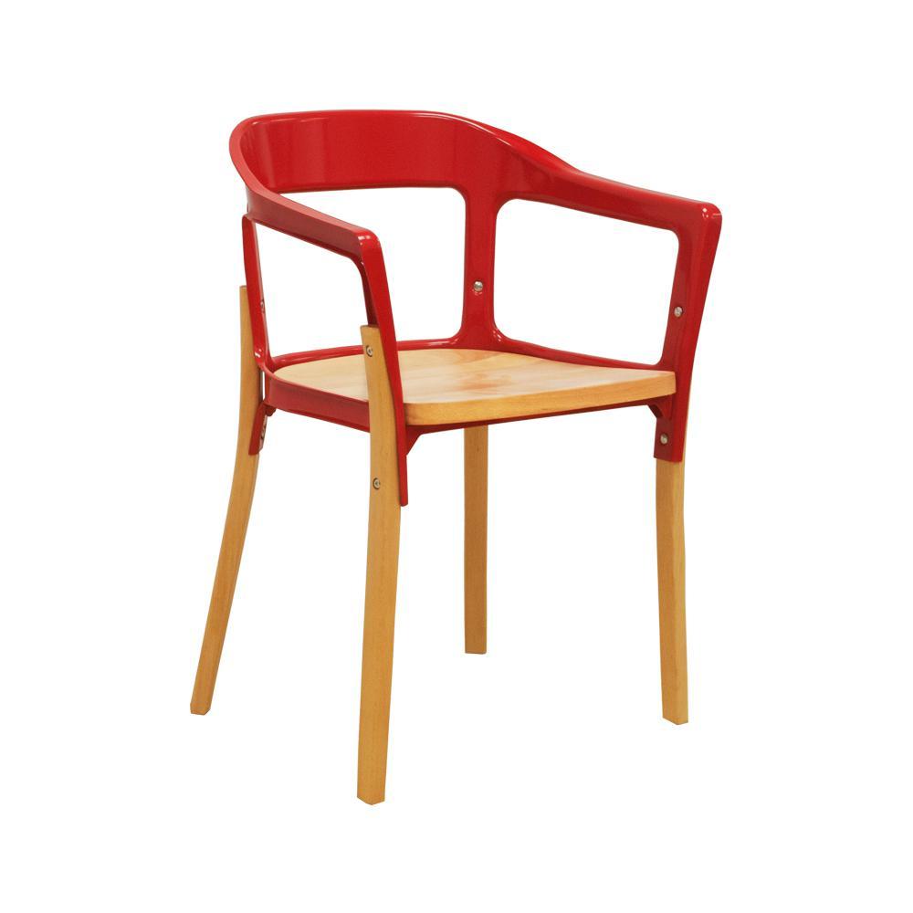 Jasper Red Steel & Wood Modern Dining Side Chair