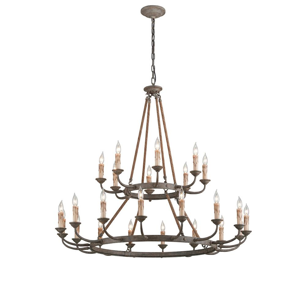 Troy Lighting Cyrano 24 Light Earthen Bronze With Natural Manila Rope Chandelier