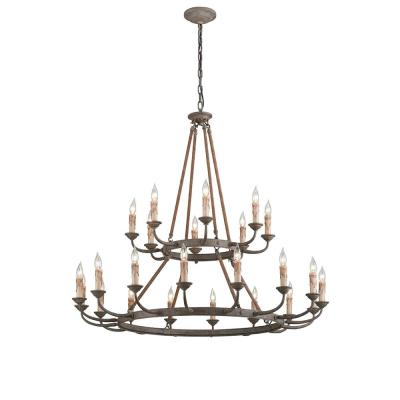 Cyrano 24-Light Earthen Bronze with Natural Manila Rope Chandelier