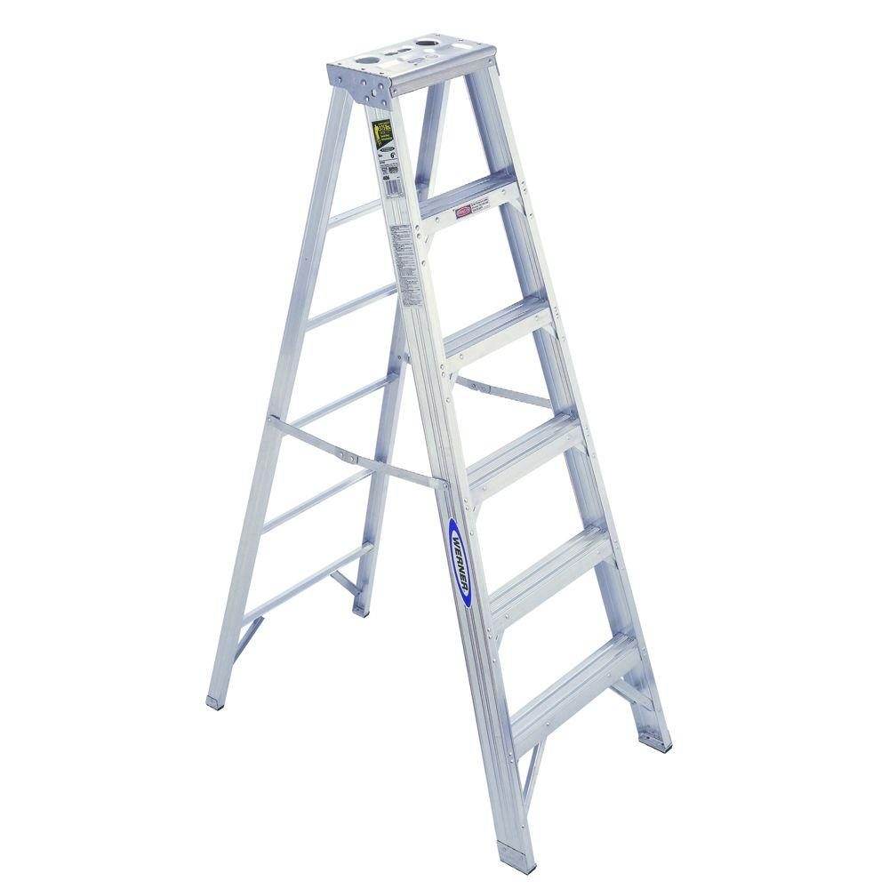 Werner 6 Ft Aluminum Step Ladder With 375 Lb Load Capacity Type Iaa Duty Rating 406 The Home Depot