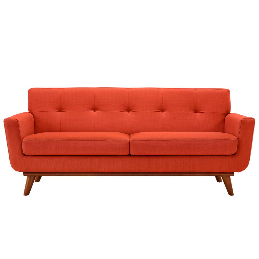 Engage 78 in. Atomic Red Polyester 2-Seater Loveseat with Wood Legs