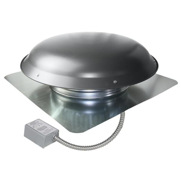 1080 CFM Weathered Grey Galvanized Steel Electric Power Attic Roof Ventilator