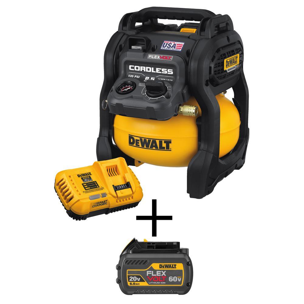 Dewalt FLEXVOLT 2.5 gal. 60-Volt MAX Brushless Cordless Electric Air Compressor Kit with Bonus 6.0 Ahr Battery Pack by DEWALT