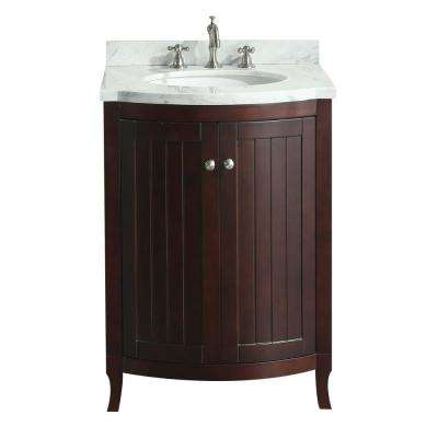 Odessa Zinx 24 in. W x 22.50 in. D x 34 in. H Vanity in Teak with Carrera Marble Vanity Top in White with White Basin