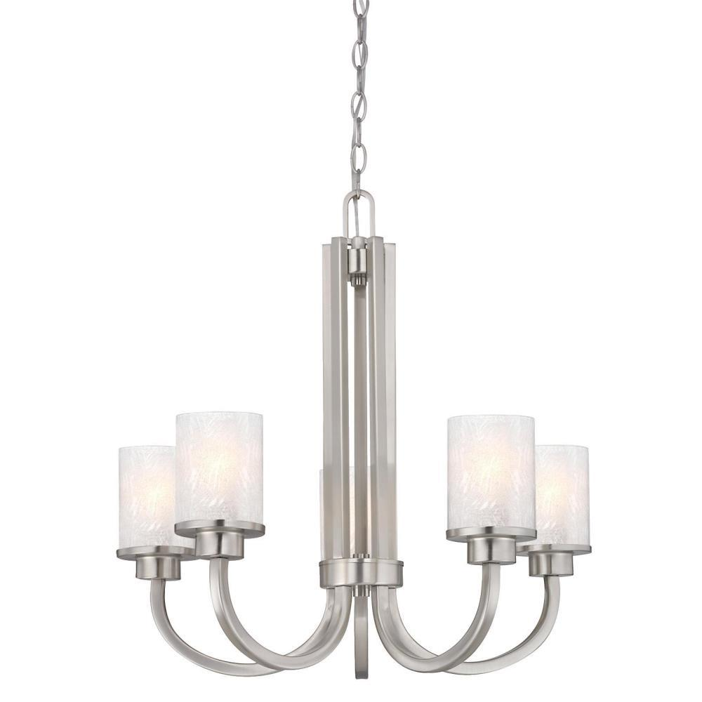 Westinghouse Ramsgate 5-Light Brushed Nickel Chandelier with Ice Glass Shades