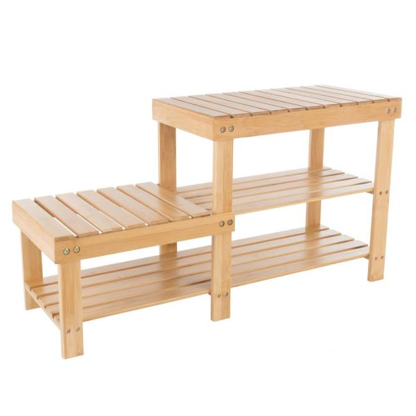 18 in. H x 33.25 in. W 2-Shelf 5-Pair Bamboo Shoe Rack with Bench Seat