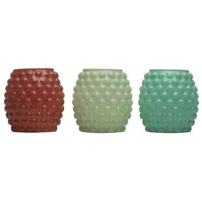 9 oz. Bubble Votive Candle Glass Seaside Escape Ivory, Coral and Blue (3-Pack)