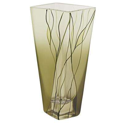 Evergreen 8 in. European Mouth Blown Hand Decorated Squarish vase