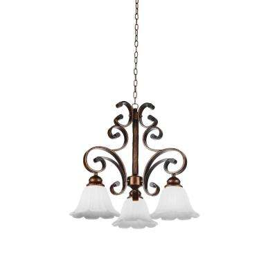 Victorian 3-Light Antique Gold Chandelier with White shade