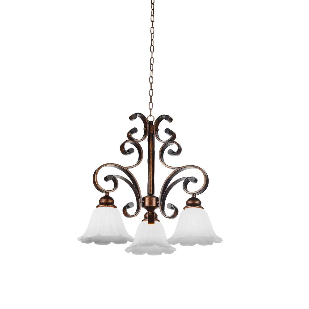 Victorian 3-Light Antique Gold Chandelier with White shade - CWI Lighting Victorian 3-Light Antique Gold Chandelier With White