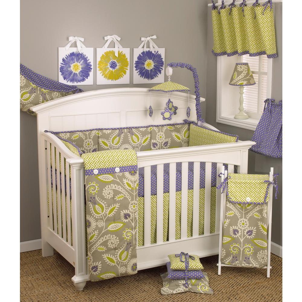 Cotton Tale Periwinkle Floral 4-Piece Crib Bedding Set, P...