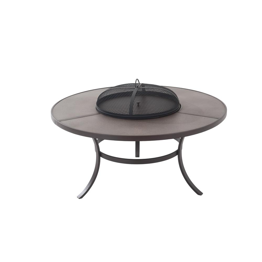 hamptonbay Hampton Bay 42 in. Round Wood Burning Fire Pit Cocktail Table with Poker, Brown powder coated
