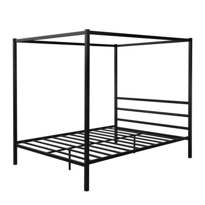 Black Metal Framed Canopy Platform Bed with Built-in Headboard,No Box Spring Needed, Classic Design, Queen